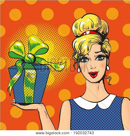Vector illustration of beautiful blonde girl holding gift box. Pretty woman with present in retro comic pop art style.