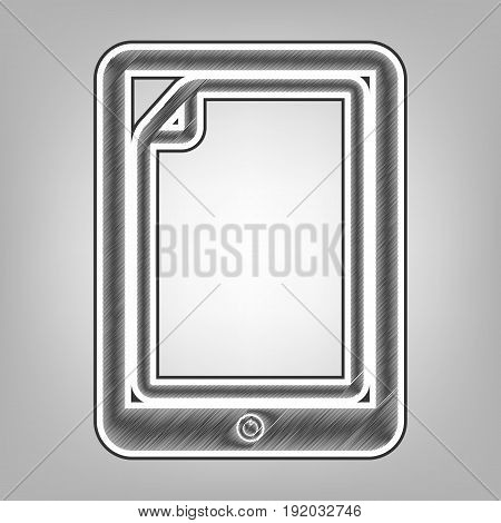 Protective sticker on the screen. Vector. Pencil sketch imitation. Dark gray scribble icon with dark gray outer contour at gray background.