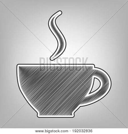 Cup sign with one small stream of smoke. Vector. Pencil sketch imitation. Dark gray scribble icon with dark gray outer contour at gray background.