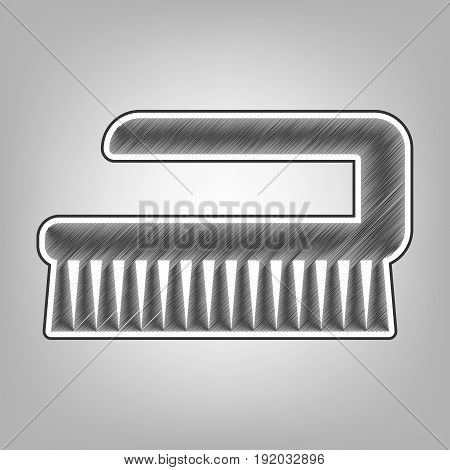 Ceaning brush hygiene tool sign. Vector. Pencil sketch imitation. Dark gray scribble icon with dark gray outer contour at gray background.