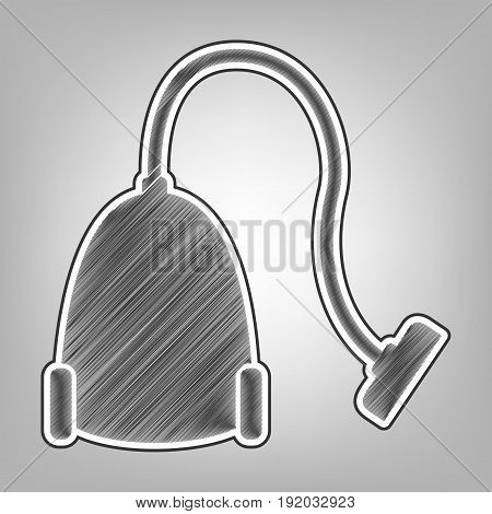 Vacuum Cleaner sign. Vector. Pencil sketch imitation. Dark gray scribble icon with dark gray outer contour at gray background.