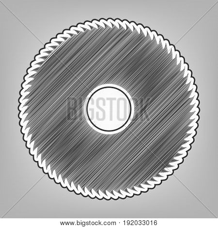 Saw sign. Vector. Pencil sketch imitation. Dark gray scribble icon with dark gray outer contour at gray background.