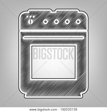 Gas stove sign. Vector. Pencil sketch imitation. Dark gray scribble icon with dark gray outer contour at gray background.