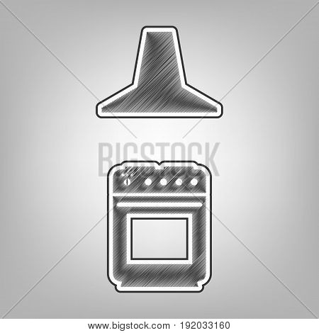 Electric or gas stove and extractor kitchen hood sign. Vector. Pencil sketch imitation. Dark gray scribble icon with dark gray outer contour at gray background.