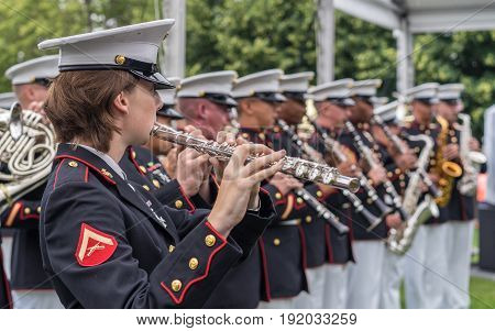 New York NY USA - June 16 2017. The USMC Band of New Orleans performed at the Freedom Park in Roosevelt Island