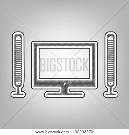 Home theater sign. Vector. Pencil sketch imitation. Dark gray scribble icon with dark gray outer contour at gray background.