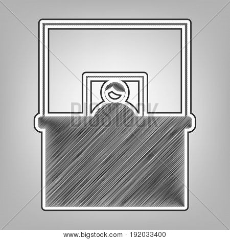 Information Desk sign. Vector. Pencil sketch imitation. Dark gray scribble icon with dark gray outer contour at gray background.
