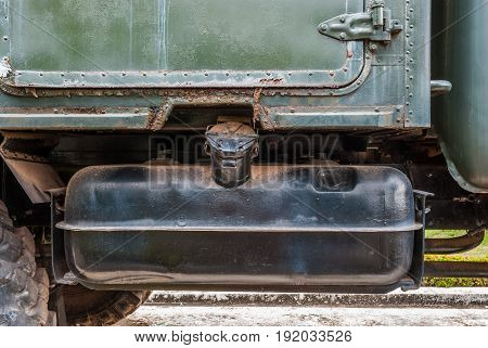 Closeup to Fuel Tank of Military Panzer Truck