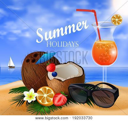 Exotic coconut cocktail on a beach background with fruit and sunglasses and a boat and beverage vector