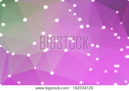Purple green pink abstract low poly geometric background with defocused lights