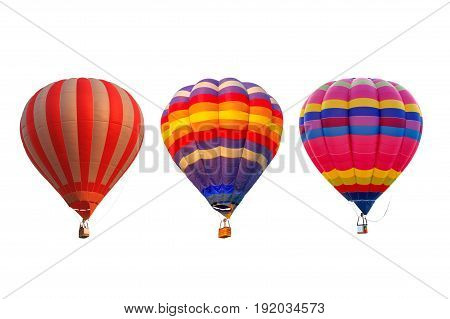 Group hot air balloons isolated on white background