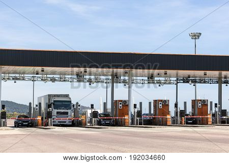 Toll gate on the highway in southern Spain