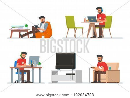 Vector set of cartoon people characters in flat style design. Hipster man playing video games, reading electronic book and working with computer. People icons isolated on white