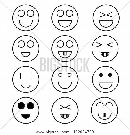 Smile icon minimal style Icon vector Eps10 set .