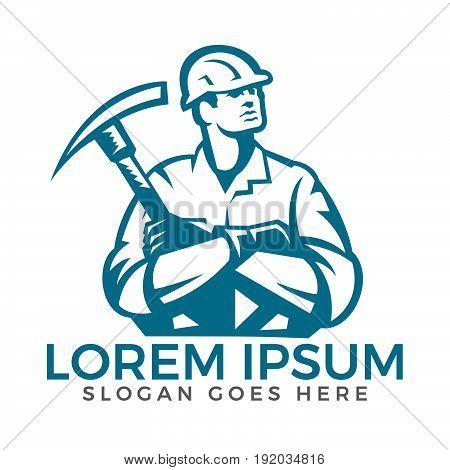 Construction worker holding hammer vector logo design.