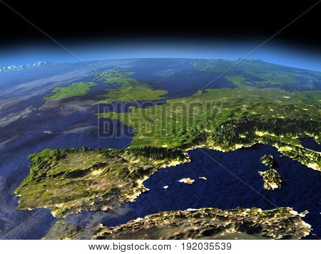 Evening Above Iberia From Space