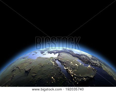Middle East From Space At Dawn