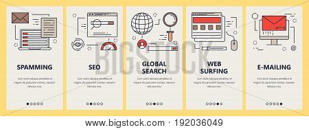 Vector set of vertical banners with e-mail spam, seo, search and web surfing concept elements in linear style design. Thin line flat design symbols, icons for website menu, print.