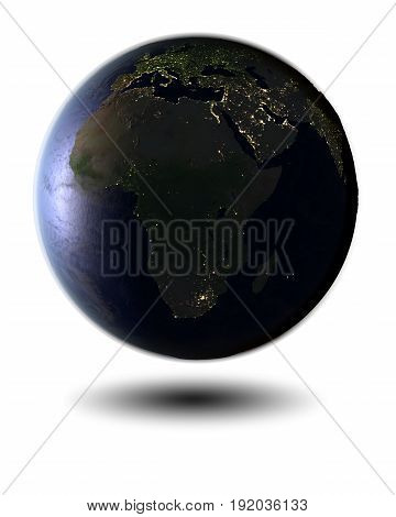 Africa On Night Globe