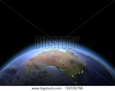 Australia From Space At Dawn
