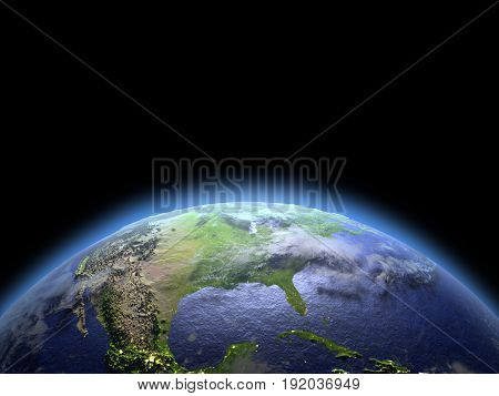North America From Space At Dawn