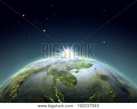 Indochina From Space In Sunrise