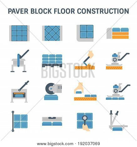 Paver block brick floor and construction work vector icon set design.