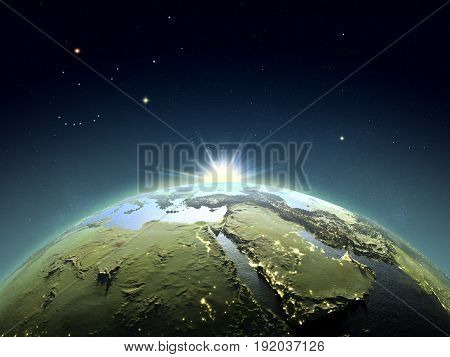 Middle East From Space In Sunrise