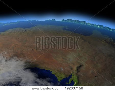 Central Australia From Space In Evening