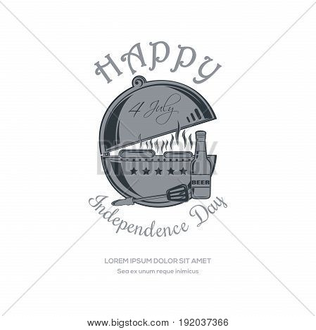 Happy 4th of July. Independence Day design with BBQ. Barbecue, grill, cookout, beer bottle and inscription - Happy Independence Day. Fourth of July. Vector illustration isolated on white background