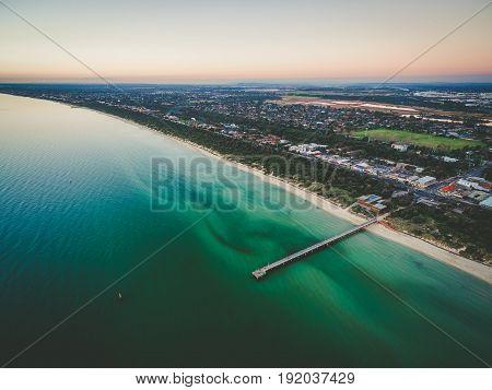 Aerial View Of Beautiful Ocean Coastline Beaches And Suburbs.