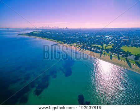Aerial View Of Beautiful Beaches And Coastline In Melbourne, Australia.