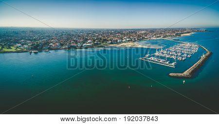Aerial Panorama Of Middle Brighton Marina, Coastline, And Suburban Area. Melbourne, Australia.