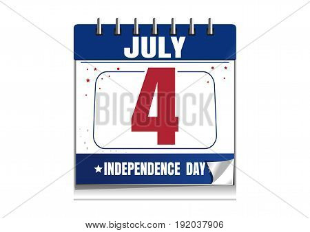 Independence Day calendar. 4 July. Independence Day date in the calendar. Calendar isolated on white background. Vector illustration