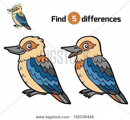 Find differences, education game for children, Kookaburra