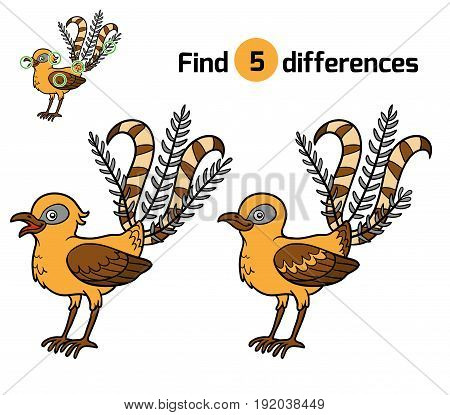 Find differences, education game for children, Lyrebird