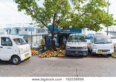 Male, Maldives - June 8, 2017: Area Of Fresh Fruit Market - Market Situated On The Harbor Of Male On