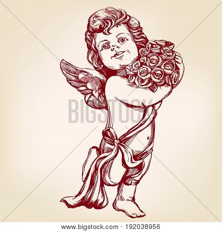 angel or cupid, little baby holds a bouquet of flowers, greeting card hand drawn vector illustration realistic sketch