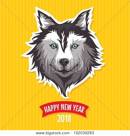 New Year 2018 greeting card with stylized dog vector illustration