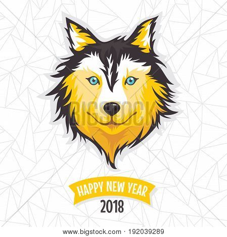 2018 New Year greeting card with stylized dog vector illustration