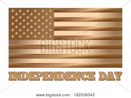 USA Independence Day design. Gold United States of America flag. Golden United States flag and greeting inscription isolated on white background. Gold label - Independence Day. Vector illustration