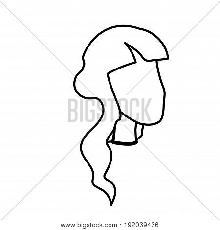line beauty woman face with hairstyle, vector illustration