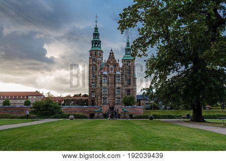 Copenhagen Denmark - August 11 2016: Rosemborg Castle. It is a renaissance castle located in Copenhagen Denmark. The castle was originally built as a country summerhouse