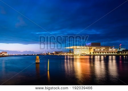 Copenhagen Denmark - August 11 2016. The Copenhagen Opera Houseat sunset. It is the national opera house of Denmark and among the most modern opera houses in the world.