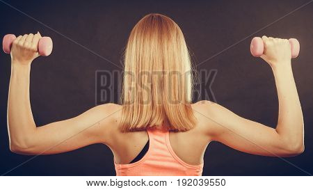 Fitness Sporty Girl Lifting Weights Back View