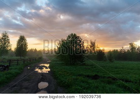 Rural landscape at dawn with a dirt road