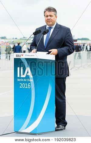 BERLIN GERMANY - JUNI 01 2016: Speech by Sigmar Gabriel Minister for Economic Affairs and Energy. Exhibition ILA Berlin Air Show 2016
