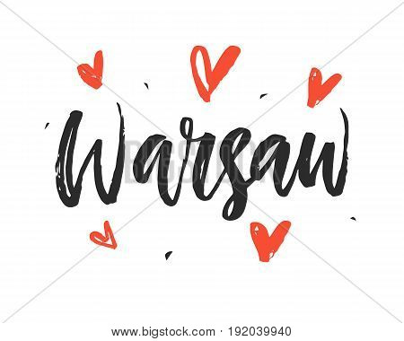 Warsaw Modern hand written brush lettering, isolated on white background. Ink calligraphy. Capital of Poland. Tee shirt print, typography card, poster design. Vector illustration.