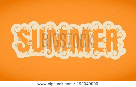 Vector lettering illustration with word summer. Typography poster with abstract ornament of curls.
