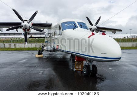 BERLIN GERMANY - JUNE 01 2016: A twin-turboprop STOL utility aircraft Dornier 228 New Generation. RUAG Aerospace Services GmbH. Exhibition ILA Berlin Air Show 2016
